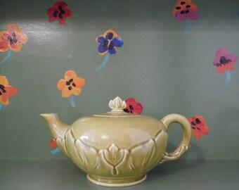 Woodfield Green Ceramic Teapot Floral Lotus Design Kitchen Decor Vintage Mid Century Modern Retro