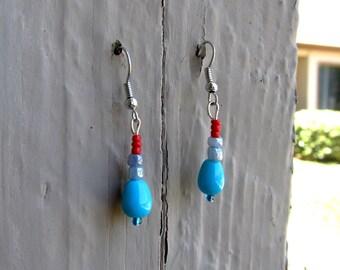 Blue, Silver & Red Earrings