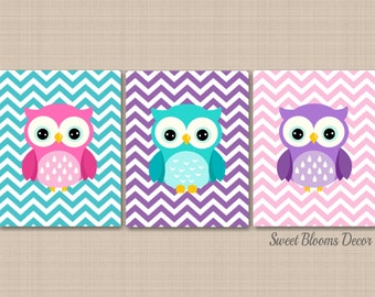 Owl Nursery Wall Art,Owl Nursery Decor,Purple Pink Teal Owl Nursery Decor,