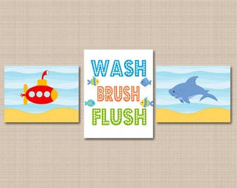 Submarine Shark Bathroom Wall Art,Whale Shark Fish Bathroom Decor,Aqua Submarine,Under the Sea Bathroom,Wash Brush Flush-UNFRAMED set of 3