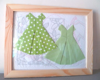 Collage green origami dresses , vintage style background pattern and tissue paper