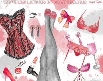 Watercolour clipart set: Burlesque Elements. corsets, lingerie, burlesque pasties, high heels, bachelorette, show girl, perfrmance
