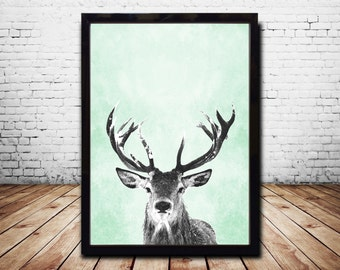 A1 Print Wall Art Print Deer Print Deer Antlers Stag Print Animal Print  Grey Print