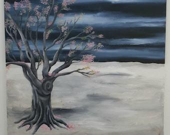Blossom tree landscape painting