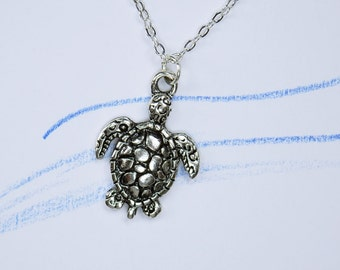Necklace sea turtle - turtle pendant on silver link chain turtle jewelry
