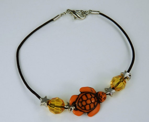 Bracelet turtle black, thin leather strap with orange turtles, pearls, Silver Star unique jewelry turtles orange