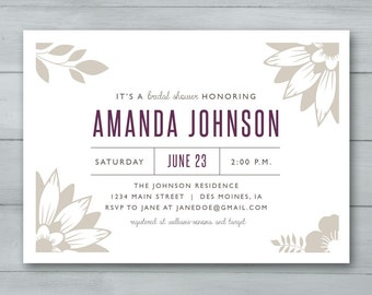 Bridal Shower Invitation  |  Floral Bridal Shower Invitation | Bridal Shower Invite