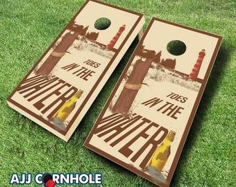 Toes in the Water Cornhole Set With Bags - Cornhole Set - Toes in Water Cornhole - Cornhole Set - Bean Bag Toss Set - Baggo