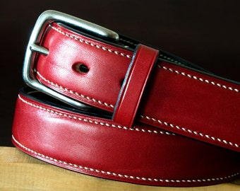 Hand stitched leather belt