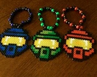 3 HALO helmet perlers/ kandi bracelets
