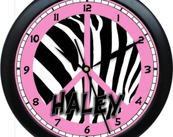 "Pink and Black Peace Zebra 10"" Wall Clock Personalized Girls Room Decor Gift"