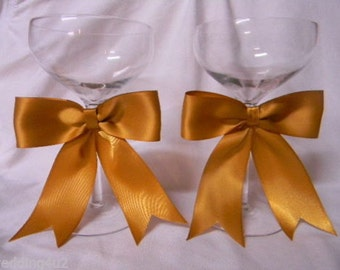 Wedding Reception Party 50th Anniversary  Toasting Glasses Stem 2 Psc Set