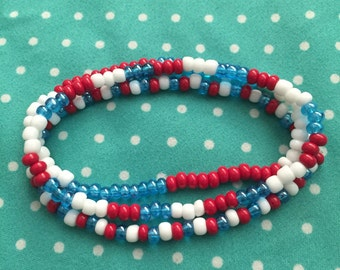 Red, White, and Blue Bead Bracelet Trio