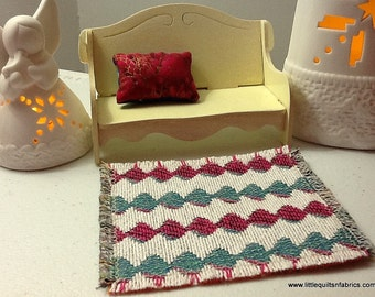 1/12 scale Dolls House - Miniature RUG 100% quality cotton in Multi-colour