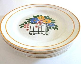 French Vintage Ceramic Plates / Set of 5 Ceramic Plates / Hippolyte Boulenger Ceramic Plates / Creil Montereau Ceramic Plates