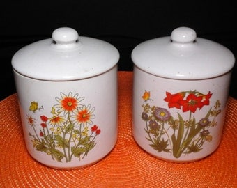Floral Stoneware Jars, 70s Lidded Stoneware Jars, Small Floral Stoneware Canisters