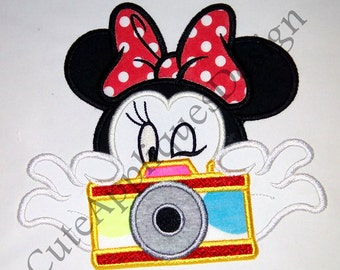 Minnie Take A Pic 7 color appliques digital embroidery design No: 1125