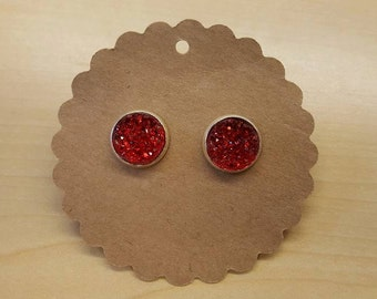 Druzy Earring Studs in Red