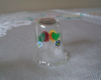 Hand painted glass thimble