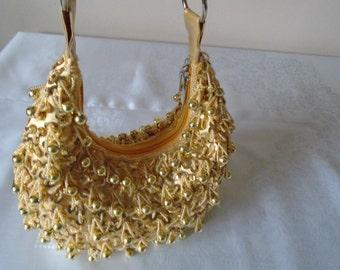 gold sequin and beaded shoulder bag