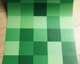 Minecraft wallpaper with green pixels