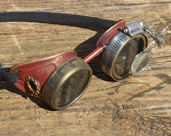 Maroon and Gold STEAMPUNK GOGGLES with Gold Gears and Magnifying Loupes, Great for Halloween, Cosplay Costume, Birthday Gift or Sandstorm