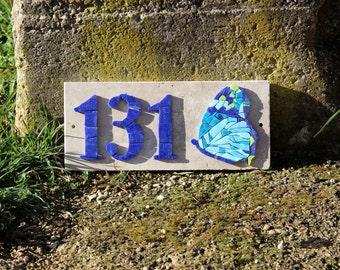 Plate, House address plate, number House, butterfly, turquoise, blue, red, handcrafted, mosaic, custom, box, gift, rack
