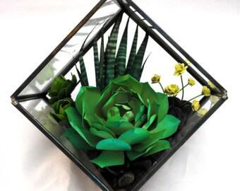 Geometric Paper Succulent Terrarium   Paper Succulent Garden, Succulent Ornament, Paper Plant Centerpiece: Jade Echevaria + Zebra Aloe
