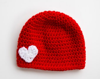 Crochet Girl Hat, Toddler Hat, Heart Hat, Winter Hat