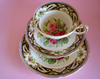 """Gorgeous Vintage Foley Roses """"FLORENCE"""" Cup, Saucer & Side Plate."""