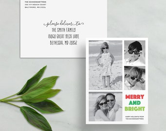 merry & bright holiday card // personalized photo card // red green stripe christmas card // custom holiday card // PRINTED holiday card