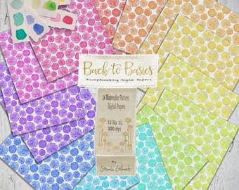 Digital watercolor Paper Pack. Rainbow watercolor