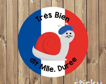 Personalized French Teacher Stickers, Francais Stickers, Reward Stickers, School Stickers, French Stickers, Teacher Gift Custom Stickers