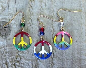 Hand Painted Peace Sign Earrings, Rasta Earrings, Tie Dye Earrings, Red,White & Blue Earrings,Vineyard Jewelry, Lightweight Brass