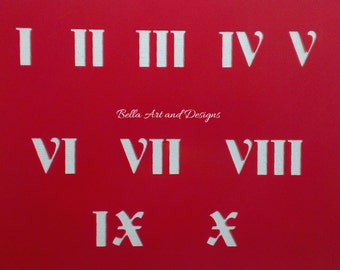 Design 2 Medium size Roman Numeral Stencil Set I to X  *Free gift with every order*