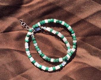 Genuine Emerald and Moonstone Wrap Bracelet