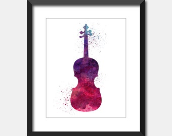 Violin Music Watercolor Splattered Art Print, Musical Instrument Printable Art, Instant Digital Download