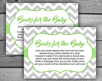 Chevron Baby Book Request Cards - Printable - DIY - Baby Shower Invitation Inserts - Gray - Grey- Green - Chevron Books For Baby - 064