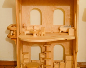"Wooden dollhouse ""without furniture"". Christmas wooden toys. Montessori waldorf toys.wooden toy, multi-storey house, apartments for toys"