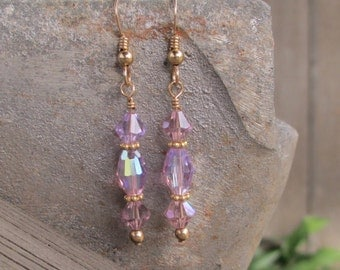 Delicate gold filled drop earrings with lavender Swarovski crystals