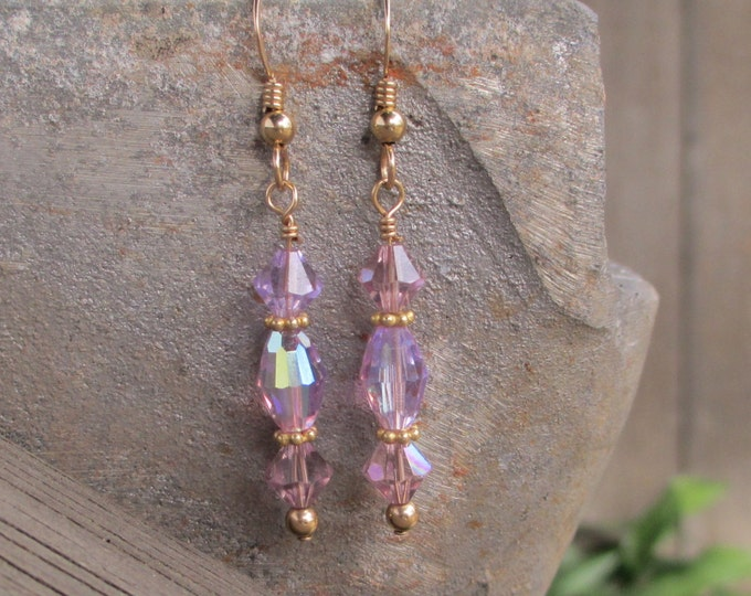 handmade delicate gold filled drop earrings with lavender Swarovski crystals