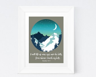 Mountain Scene, I Will Lift Up Mine Eyes, Printable, Bible Quote