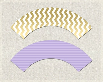 Cupcake Wrappers Purple Gold Purple Gold Chevron Baby Shower Printable Cupcake Wrappers Girl Girls BS-21