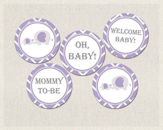 purple gray elephant theme baby shower cupcake toppers girls baby