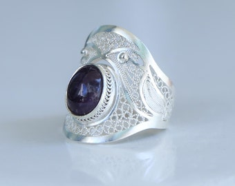 Amethyst stone filigree 980 silver ring