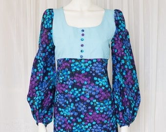 Vintage 60's floral maxi full length dress long bell sleeve