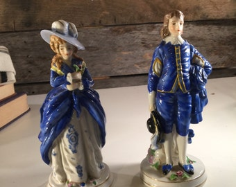 Colonial Ceramic Figurines Set of two