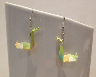 Origami Swan green/yellow earrings
