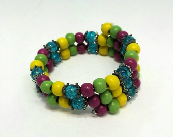Colorful Memory Wire Bracelet with Painted Wood Beads is Fuchsia, Yellow and Lime Green with Glass Turquoise Beads