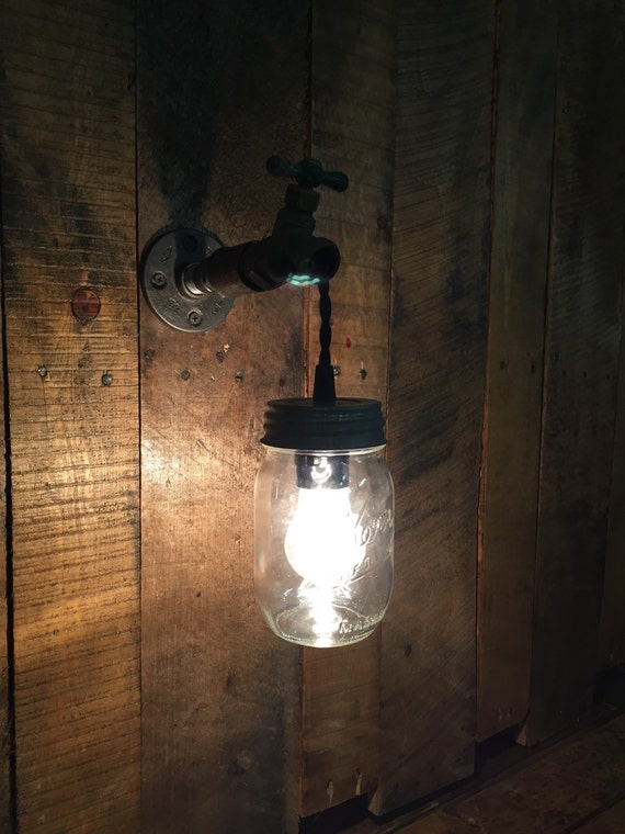 Bathroom Vanity Lights Etsy : Items similar to Industrial Mason Jar Sconce Light - Steampunk - Hose Bib - Rustic -Lighting ...